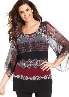Alfani Plus Size Kimono-Sleeve Printed Top