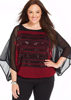 Alfani Plus Size Kimono-Sleeve Sequined Blouson Top