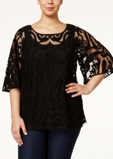 Alfani Plus Size Lace Bell-Sleeve Blouse, Only at Macy's
