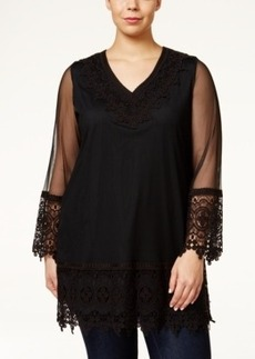 Alfani Plus Size Lace-Embellished Mesh Tunic, Only at Macy's