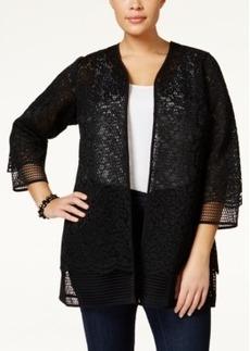 Alfani Plus Size Lace Mesh-Trim Jacket, Only at Macy's