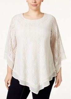 Alfani Plus Size Lace Poncho Top, Only at Macy's