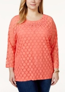 Alfani Plus Size Lace-Trim Polka-Dot Mesh Top, Only at Macy's