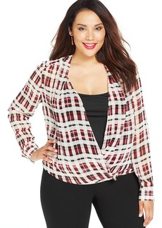 Alfani Plus Size Layered-Look Plaid-Print Top