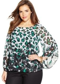 Alfani Plus Size Leopard-Print Blouse