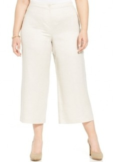 Alfani Plus Size Linen Cropped Wide-Leg Pants