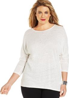 Alfani Plus Size Linen Three-Quarter-Sleeve Top