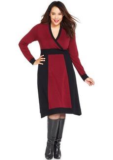 Alfani Plus Size Long-Sleeve Colorblocked Dress