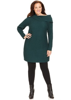 Alfani Plus Size Long-Sleeve Marilyn Cowl-Neck Tunic Sweater