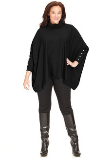 Alfani Plus Size Long-Sleeve Poncho Turtleneck Sweater