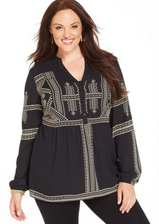 Alfani Plus Size Long-Sleeve Printed Peasant Top