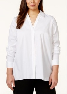 Alfani Plus Size Long-Sleeve Zipper-Back Shirt, Only at Macy's