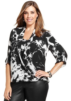 Alfani Plus Size Marble-Print Draped Top