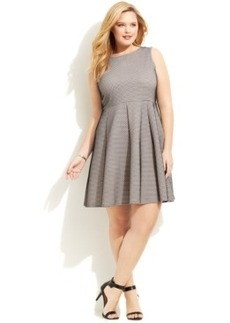Alfani Plus Size Mesh-Overlay Fit & Flare Dress