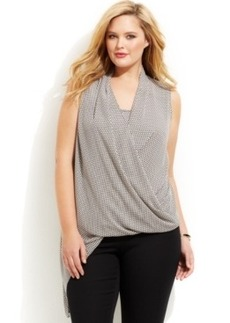 Alfani Plus Size Mesh-Print Faux-Wrap Top