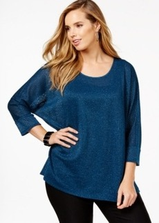 Alfani Plus Size Metallic-Flecked Pullover Sweater, Only at Macy's