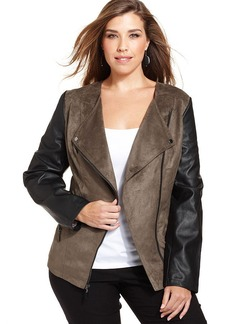 Alfani Plus Size Mixed-Media Asymmetrical Moto Jacket