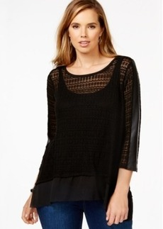 Alfani Plus Size Mixed-Media Lacy-Knit Top, Only at Macy's