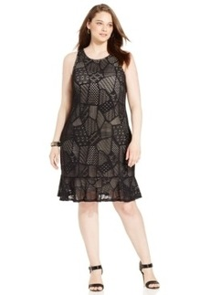 Alfani Plus Size Mixed-Print A-Line Dress
