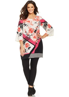 Alfani Plus Size Mixed-Print Tunic