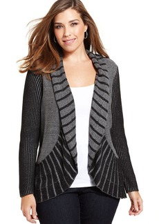 Alfani Plus Size Mixed-Stitch Open-Front Cardigan