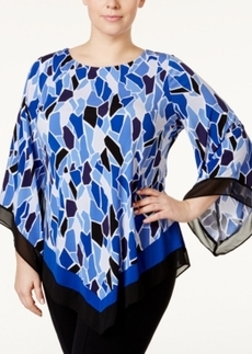 Alfani Plus Size Mosaic-Print Poncho Top, Only at Macy's