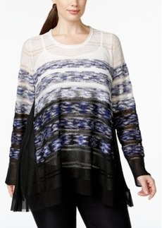 Alfani Plus Size Ombre Striped Layered-Look Open-Knit Sweater, Only at Macy's