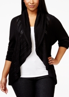 Alfani Plus Size Open-Front Crochet-Knit Cardigan, Only at Macy's