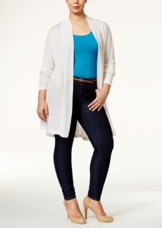 Alfani Plus Size Open-Front Long Cardigan, Only at Macy's