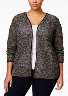 Alfani Plus Size Open-Front Piped Sweater Jacket, Only at Macy's