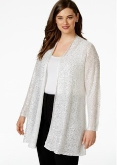 Alfani Plus Size Open-Front Sequin Cardigan, Only at Macy's