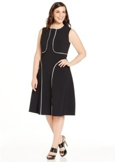 Alfani Plus Size Piped A-Line Dress