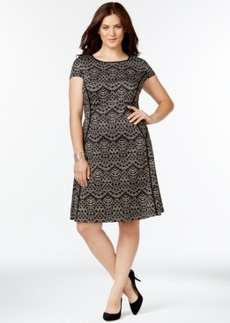 Alfani Plus Size Piped Printed Scuba Dress, Only at Macy's