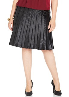 Alfani Plus Size Pleated A-Line Faux Leather Skirt