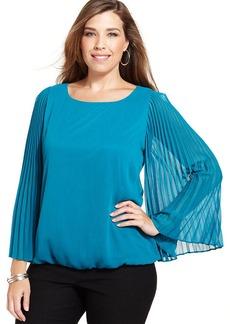 Alfani Plus Size Pleated-Sleeve Printed Top