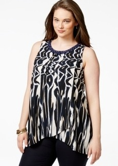 Alfani Plus Size Printed and Embellished Flyaway Top, Only at Macy's