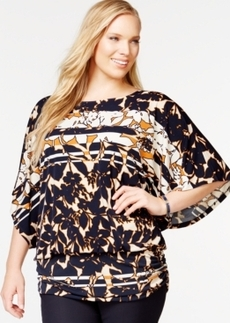 Alfani Plus Size Printed Angel-Sleeve Blouson Top, Only at Macy's