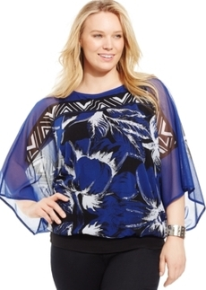 Alfani Plus Size Printed Blouse