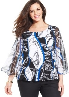 Alfani Plus Size Printed Blouson Top