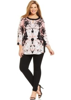 Alfani Plus Size Printed Colorblocked Keyhole Tunic