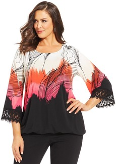 Alfani Plus Size Printed Crochet-Trim Blouson Top