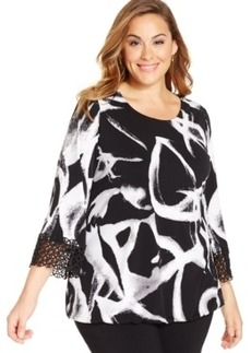 Alfani Plus Size Printed Crochet-Trim Top