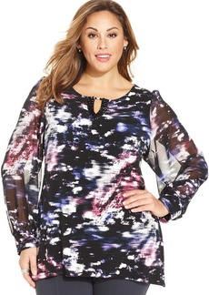 Alfani Plus Size Printed Embellished Keyhole Top
