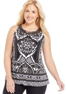Alfani Plus Size Printed Embellished Top