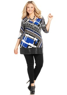 Alfani Plus Size Printed Faux-Leather Trim Zippered Tunic