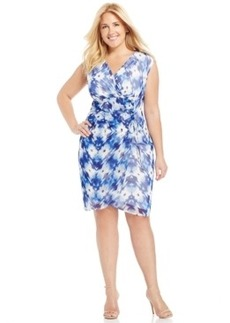 Alfani Plus Size Printed Faux-Wrap Dress