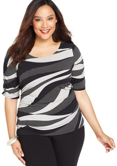 Alfani Plus Size Printed Fitted Top
