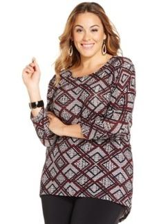 Alfani Plus Size Printed Knit Top