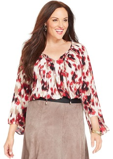 Alfani Plus Size Printed Peasant Top