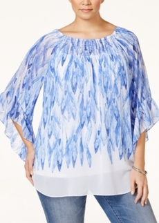 Alfani Plus Size Printed Peasant Top, Only at Macy's